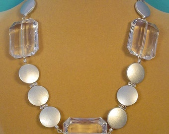 """18"""" Big, BOLD sparkling clear and silver Necklace - N273"""