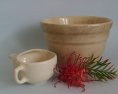 Rustic Bakewells bowl and rare invalids cup Australian pottery 1920s/30s or earlier