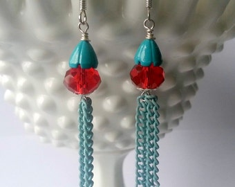 Aqua and Red Earrings