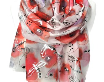 Red Poppies Silk Scarf. HandPainted Sparkle Scarf. Woman Birthday Gift for Her. Genuine Art on Silk. Echarpe Foulard. 18x71in MADEtoORDER
