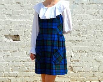 1960s Schoolgirl Plaid Jumper - Medium