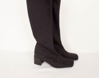 Vintage Black Textile Boots / Black Elastic Calf High Boots / 1980s 90s Boots / Small Heel / Women's Size EU 36 US 6