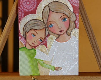 Original painting on wood, Mothers are Angels , 6x9 inch (15 x 22.5 cm) Mixed Media Folk Art by Evona
