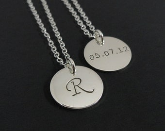 """Sterling Silver Double Sided Initial Necklace - 5/8"""" Initial Disc - Personalized Initial Necklace- Long Necklace"""