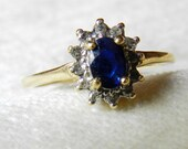 Vintage Blue Sapphire Engagement Ring, Sapphire Diamond Halo Ring 10K