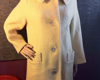1960s Butter-Yellow Wool Coat - Size 8