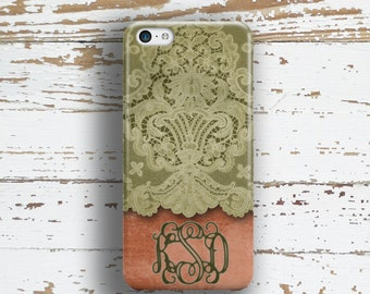 Personalized gifts for mom, Pretty Iphone 5s case, Vintage Iphone 5c case, Women's iPhone 6 case, Lace iPhone 6s case, Coral green (9619)