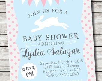 Bunny Baby Shower Invitation /// First Birthday Invitation