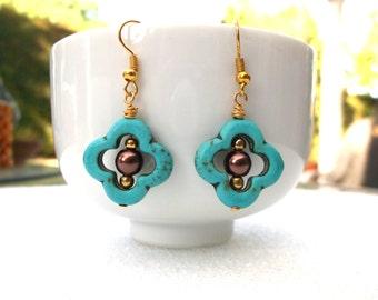 Quatrefoil Earrings, Turquoise Earrings, Gold Dangle Earrings,  Santa Barbara Inspired, Gold Drop Earrings, Simple Everyday Earrings