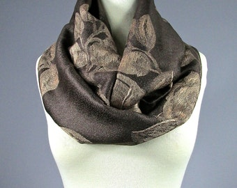 Brown Scarf, floral scarf, rose scarf, infinity  scarf, pashmina infinity  scarf