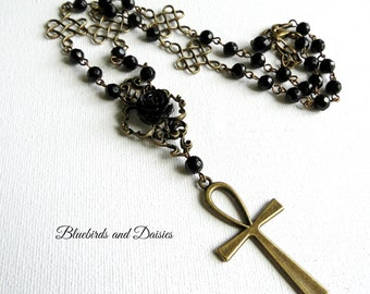 Bronze Ankh and Black Rose Necklace