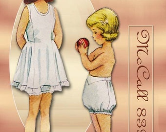 McCall 8397 1950s Sewing Pattern Lingerie Size 3 Girls Slip and Panties
