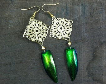 gold filigree and jewel beetle wing earrings