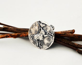 Cast Sterling Silver Fantasy Unicorn Ring with Braided Band Ring and Stars