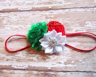 Christmas Headband, Red Christmas Headband,  Baby Headband,  Headband, Baby Headband, Infant Headband, Newborn Christmas, Red White Green