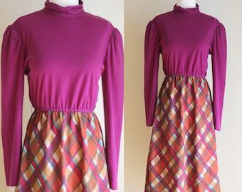 SALE: Vintage 80s Purple Plaid Dress - Jewel Tone Mock Turtleneck Derss - Secretary Dress -  Long Sleeve Midi Dress - Size Medium / Large