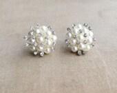 Bridal Pearl Crystal earring , Art Deco bridal earring, pearl, rhinestone, wedding jewelry, pearl earring, stud  post IVORY