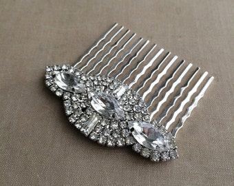 Art Deco hair comb,1920s,headpiece, winter wedding, Rhinestone comb, Wedding hair comb, Silver hair Comb, crystal rhinestone