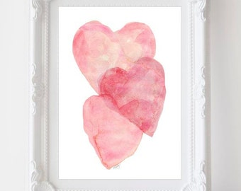 Girl's Nursery Decor, Watercolor Heart, Pink Nursery Art, 5x7 Print,  Pink Heart Art, Pink Nursery Decor, Baby Girl, Pink Watercolor Print