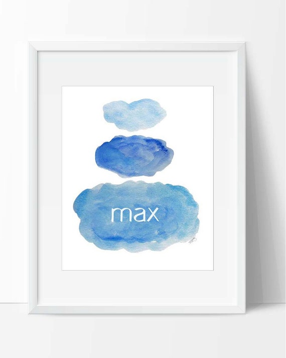 Boys Nursery Decor; Personalized Watercolor Clouds Print, 8x10