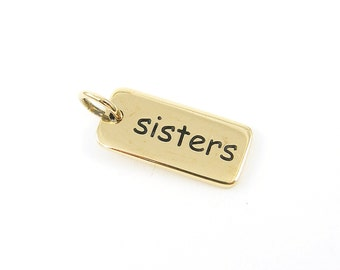 Sister Charm - Gold Rectangle Pendant for Sisters Minimalist Modern Jewelry for Her