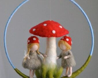 Children room decoration Waldorf inspired  mobile : The mushroom children.