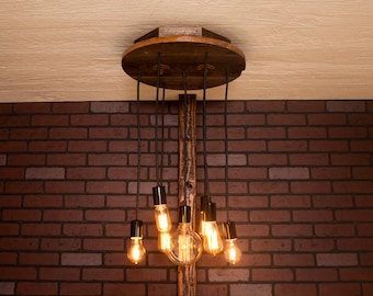 Industrial Lighting, Industrial Chandelier With Reclaimed Wood and 7 Pendants.      R-18C-7