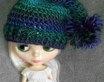 Elf Hat with Pom Pom for Blythe Doll.  Choose your colorway Shown in Dragonfly Clothes Crochet Outfit