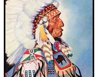 One Bull Native American Sioux Chief Print, W Langdon Kihn Painting, Wall Decor, Sitting Bull