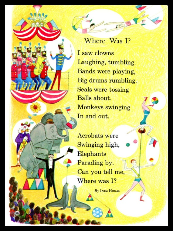 Circus Poem Children's Print Inez Hogan by SkippiDiddlePaper