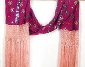 Pink Fringe Scarf, Embroidered Silk Scarf, Sequin Scarves, Gypsy Shawl, Bohemian Wrap, Indian Wedding, Tribal Shawl, Vintage Stole, Banjara