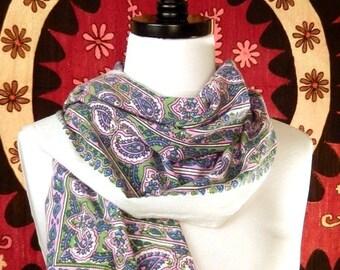 Long Cotton Scarf, Paisley Scarf, Indie Boho Style, Indian Cotton, Block Print Scarf, White Pink Purple Scarf, Indian Print, Vintage Cotton
