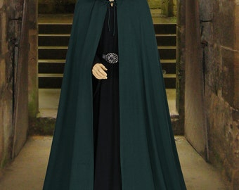 Medieval Style Handmade Natural Cotton Cloak with Satin-Lined Hood