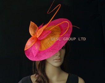 Orange/hot pink fuschia BIG saucer Sinamay Fascinator Hat with ostrich spine for wedding,kentucky derby,party,melbourne cup,ascot races