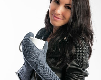 Knit mitten Cable Knit Women's Convertible Mitten in gray Slim fit Long Fingerless gloves Wool mitten Merino wool Women mitten Bella mitten