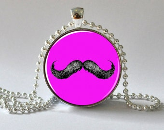 Hipster Jewelry. Pink Mustache Pendant. Mustache Necklace. Kids Jewellery. 094
