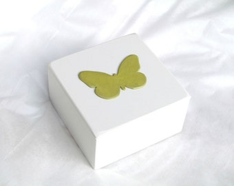 Personalized Keepsake Box Butterfly Trinket Box Jewelry Box Pale Green Decorative Box Birthday Gift