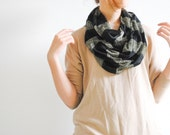 Gray Black Gold Striped Infinity Scarf - Chunky Scarf - Cowl Scarf - Chuncky Infinity Scarf - Gift for her