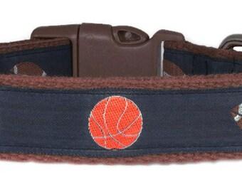 """Sports Dog Collar 1"""" Cotton Brown Dog Collar"""