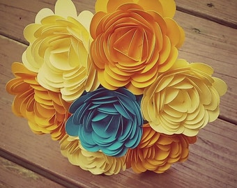 Paper Flower Bouquet - 7 Large Yellow and Teal Paper Flowers - Handmade Paper Flowers for Brides, Weddings, Showers, Birthdays