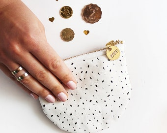 White with Spots Coin Purse - Genuine Leather Back.