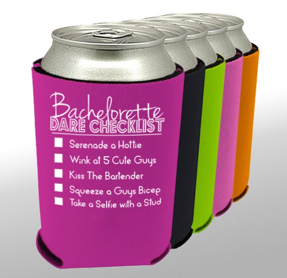 Bachelorette Can Cooler Party Dare Checklist Can By