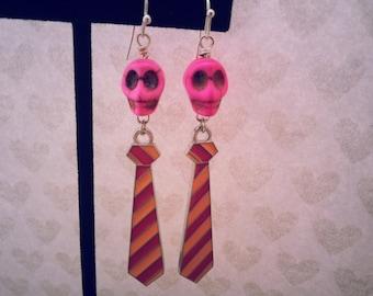 Pink Skulls 'n Ties Earrings, Day of the Dead, Halloween Jewelry, Skull Earrings, Halloween Earrings,