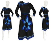 Louis Féraud 1960s 1970s Vintage 3 Pc. Evening Set Dress w. Belt and Scarf Graphic Print Black Blue US Size 6 Small