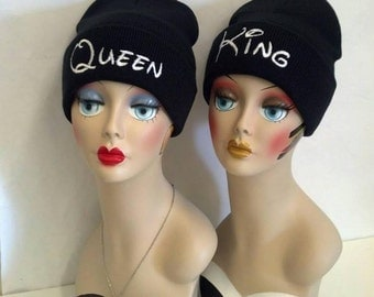 Queen & King Beanies for Couples with Custom Embroidery Disney Font