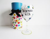 funny wine glass hand painted wine glass with decorative box...the princess is 21 21st birthday gift