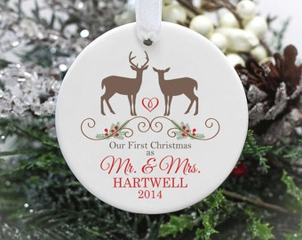 Our First Christmas as Mr & Mrs Wedding Ornament - Personalized Deer Ornament
