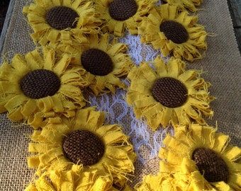 Golden Yellow Sunflowers - Country Farmhouse Wedding Decorations - Set of 8