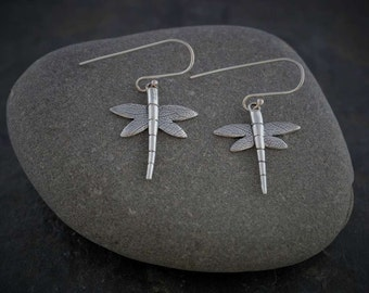 Silver Dragonfly Earrings    PMC Fine Silver Clay Jewellery   Handmade Recycled Silver Necklace  WIldSilverJewellery
