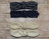 Pick 1 Reversible Knit Headband, Gold Baby Headband, Navy Knot Headband, Ivory Wrap Headband, Turban Headband, Knot Headband, Knit Headband